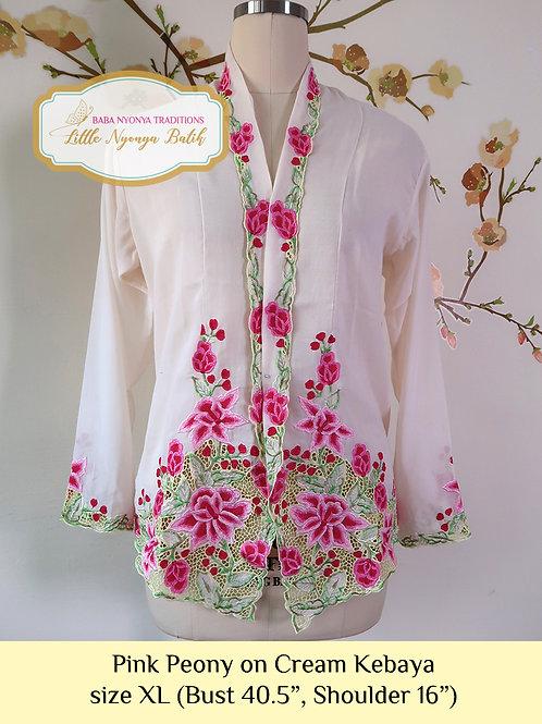 size XL: B Pink Peony in Cream Kebaya