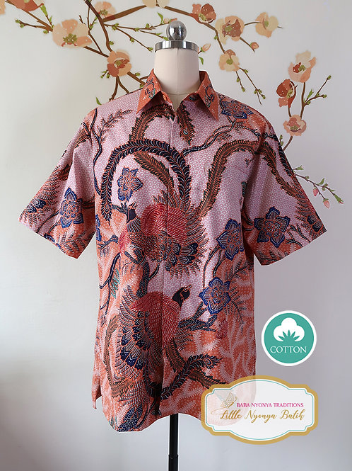 Hand-drawn Phoenix on Pink-Orange Cotton. Size L