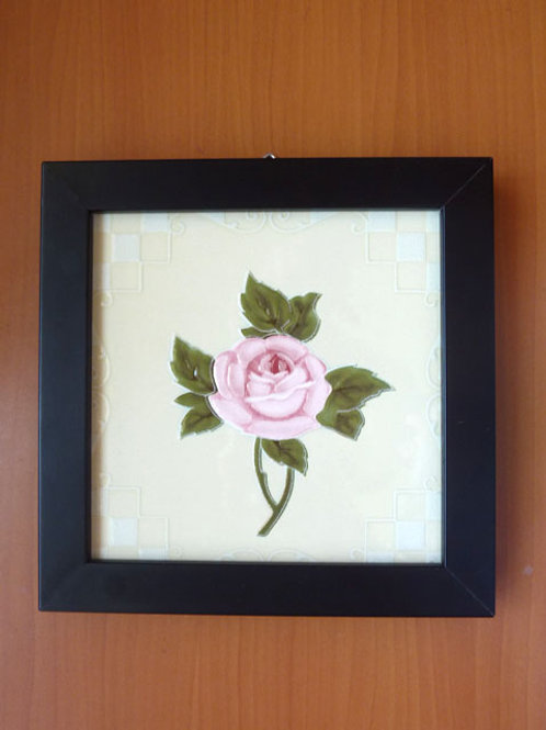 Peranakan tile rose with frame