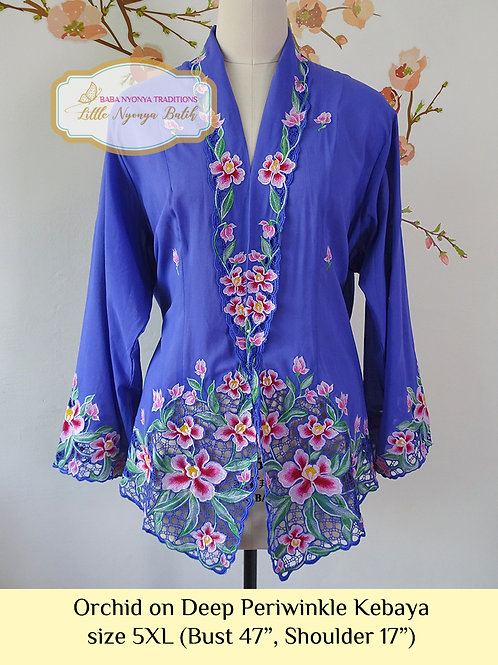H: Orchid in Deep Periwinkle Kebaya. Size 5XL
