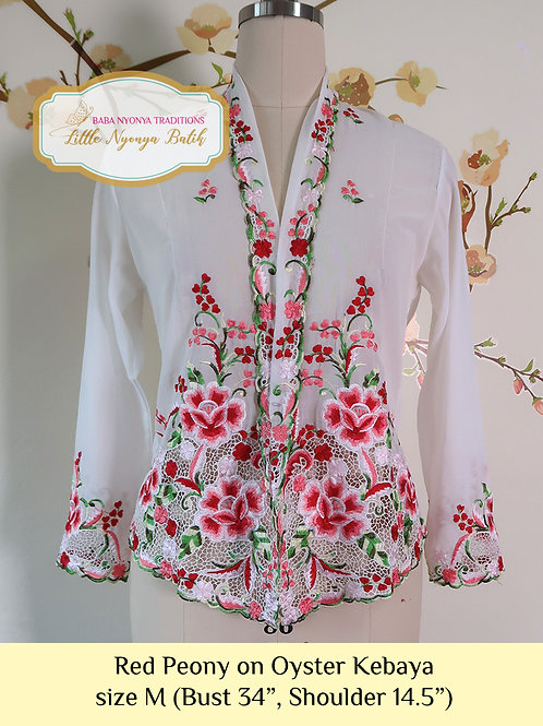 size M: B Red Peony in Oyster Kebaya
