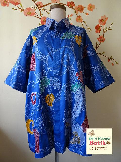 Hand-drawn Leaf Blue. Cotton. Size 2XL