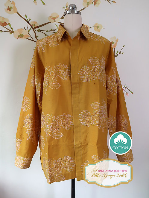SBML: Floral Egg Yolk on cotton. No Lining. size XL