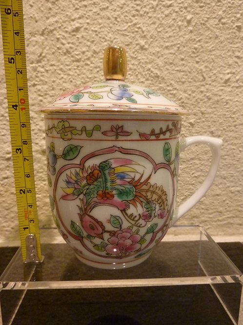 Mug with Lid Gold Rim White