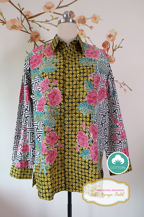 SBML: Peony Kawung Yellow on cotton. No Lining. size XL