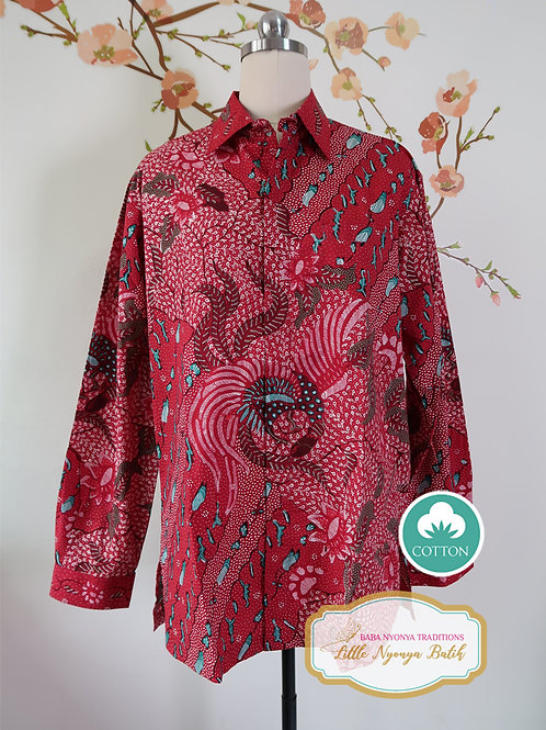 Hand-drawn Shirt Bird Red on Cotton (L)