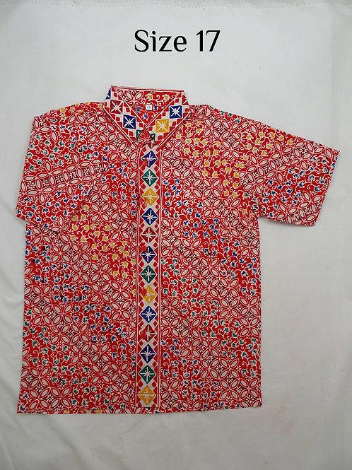 Handmade Stamp Batik Boy Batik Shirt. size 17