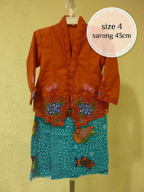 size 4 (4 yo). Cotton Butterfly Orange