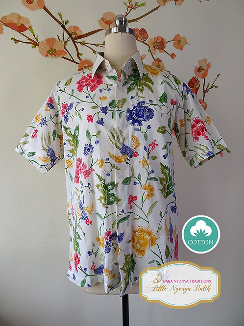 Hand-drawn Colorful Flower White Cotton. Size S