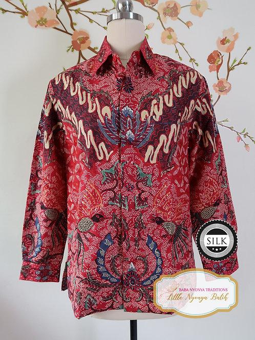 Hand-drawn Shirt Birds Red on Textured silk (S)