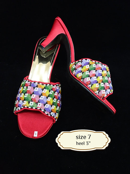 Geometric Red Beaded Shoe. size 7 or Eur 38