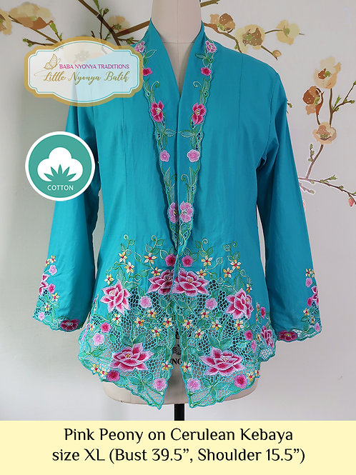 size XL C: Pink Peony on Cerulean