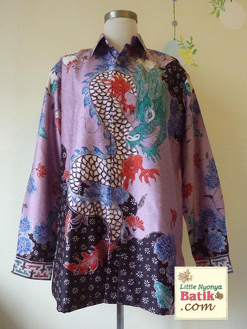 Hand-drawn Shirt Dragon Lilac on Textured silk (L)