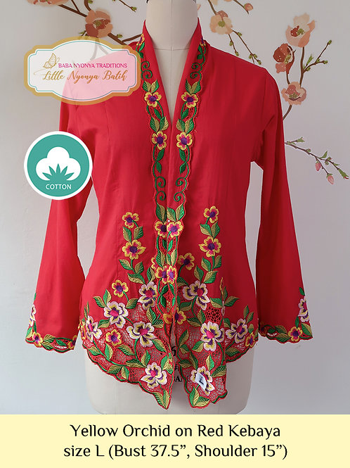 C: Yellow Orchid in Red Kebaya. size L