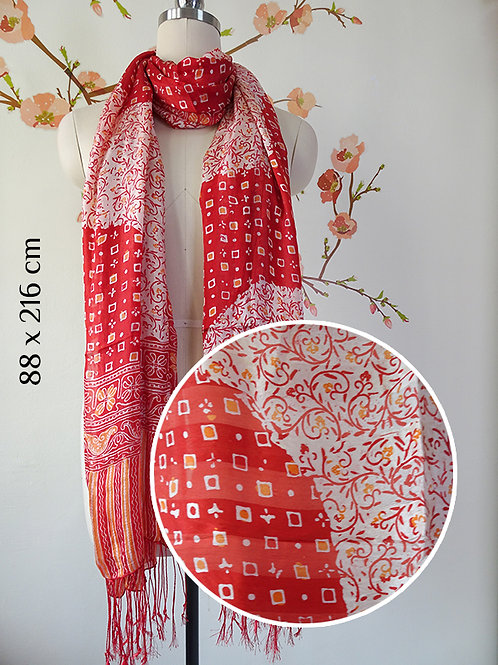 Scarf Flower Chili Red on Smooth Silk (L)