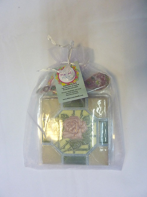 Peranakan Tile Coaster + Flower Spoon