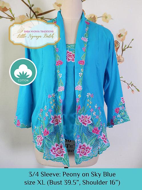 Size XL 3/4 Sleeve Kebaya with Camisole Peony Sky Blue
