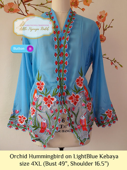 B: Orchid Hummingbird in Light Blue Kebaya. size 4XL