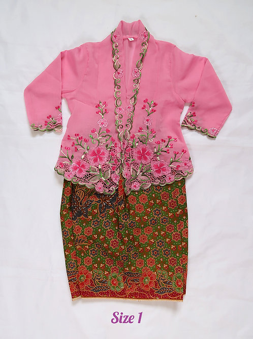size 1 (1 yo). Flower on baby pink kebaya