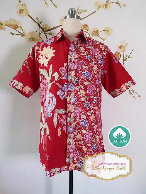 SBMS: Flower 2 Tone Red on Cotton (M) No lining