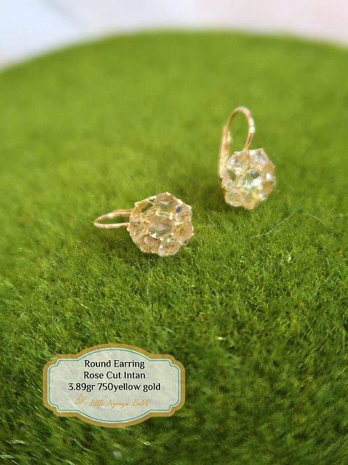 Vintage: Floral Cluster earring with intan 750 gold