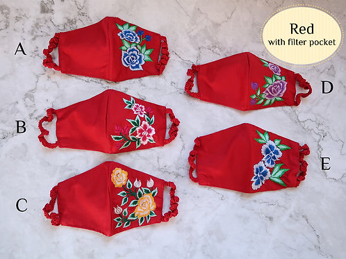 Cotton Embroidery Mask with Filter Slot Red