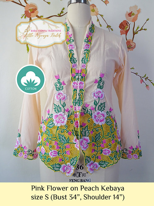 C: Pink Flower in Peach Kebaya. size S