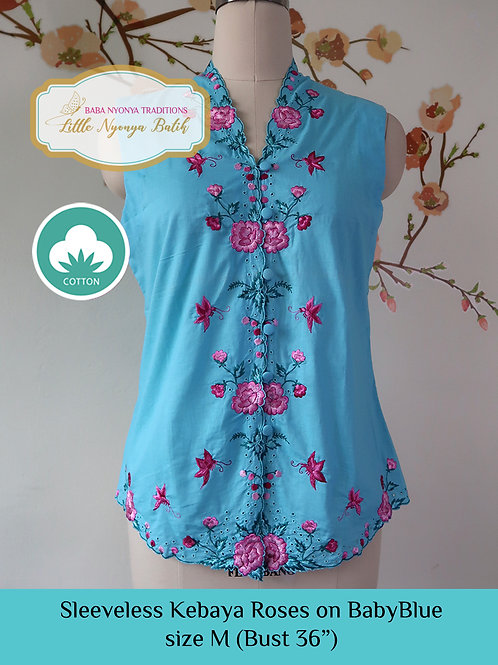 Sleeveless Kebaya: Roses on BabyBlue (M)