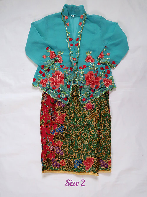 size 2 (2 yo). Red Flower on Sky Blue Kebaya