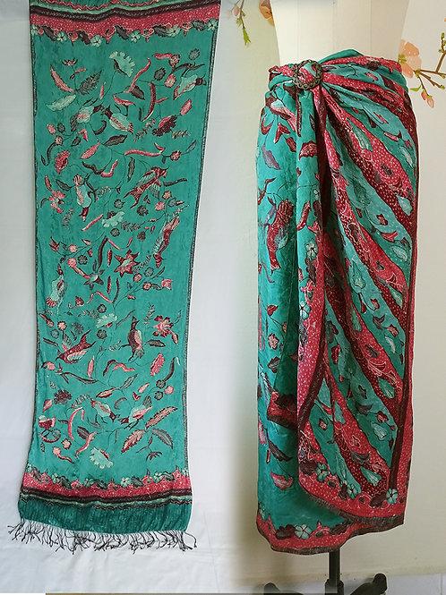 Silk sarong dark turquoise bird + scarf