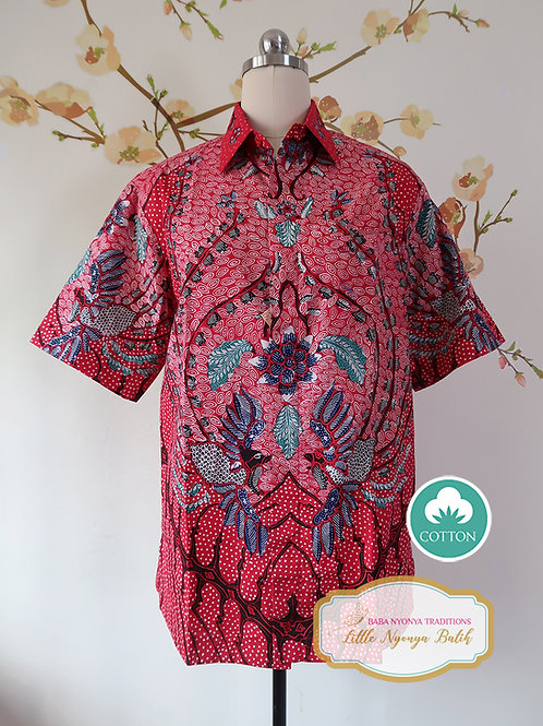 Hand-drawn Phoenixes on Red Cotton. Size M
