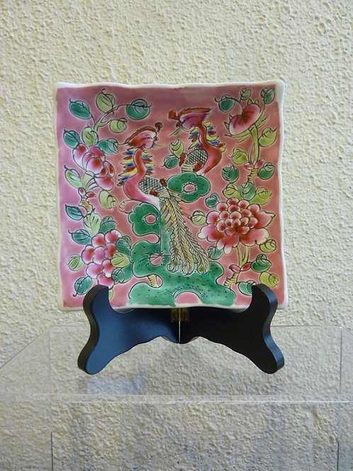 Phoenix Porcelain Square Plate with stand