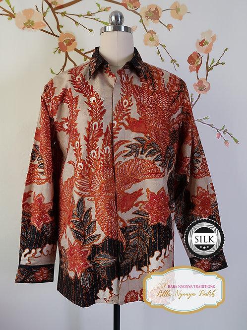 Hand-drawn Shirt Phoenix Orange on Textured silk (M)