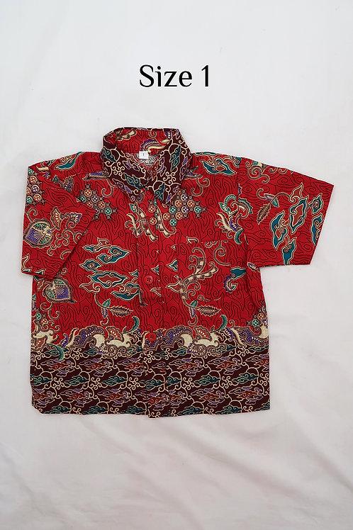 Boy Batik Shirt Red.  size 1 for 1yo