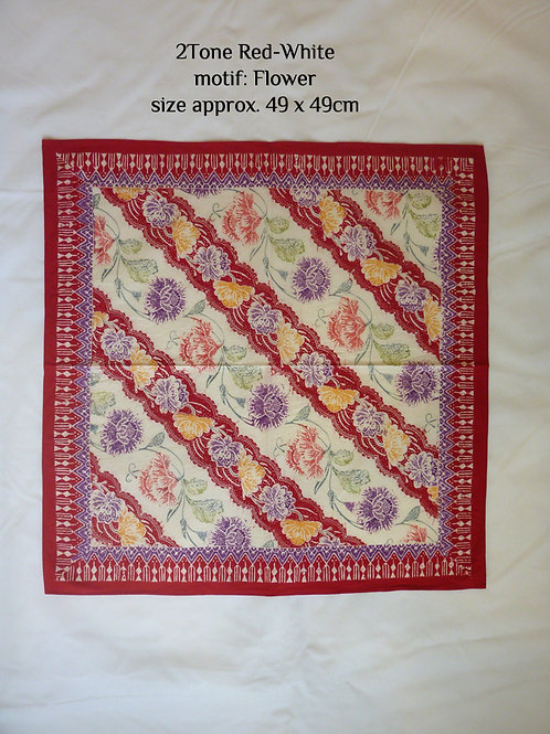 Extra Large Hankie/Napkin Red White Floral