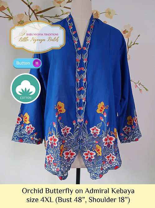 C: Orchid Butterfly on Admiral Blue Kebaya. size 4XL