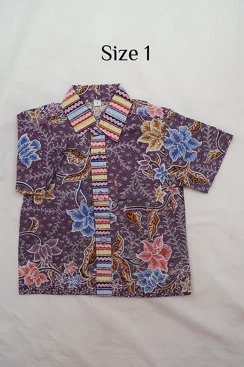 Boy Batik Shirt Purple.  size 1 for 1yo