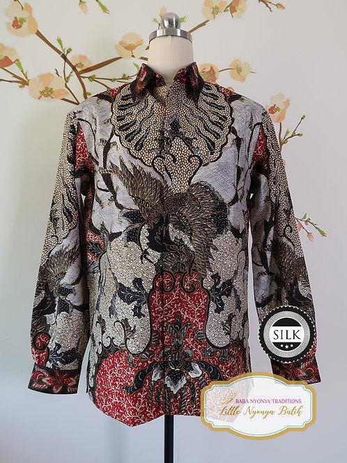Hand-drawn Shirt Black Eagle on Textured silk (M)