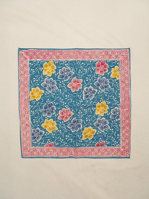 Small Hankie/Napkin Blue Colorful Peony B