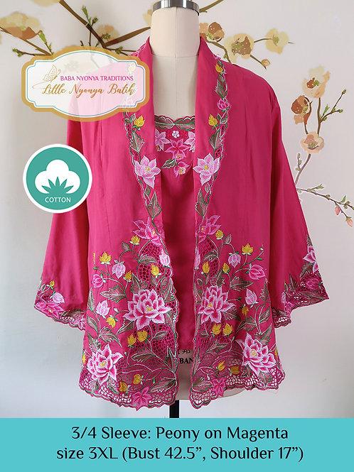 Size 3XL 3/4 Sleeve Kebaya with Camisole Magenta
