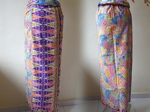 Tumpal Purple SekarJagad Sarong on Cotton