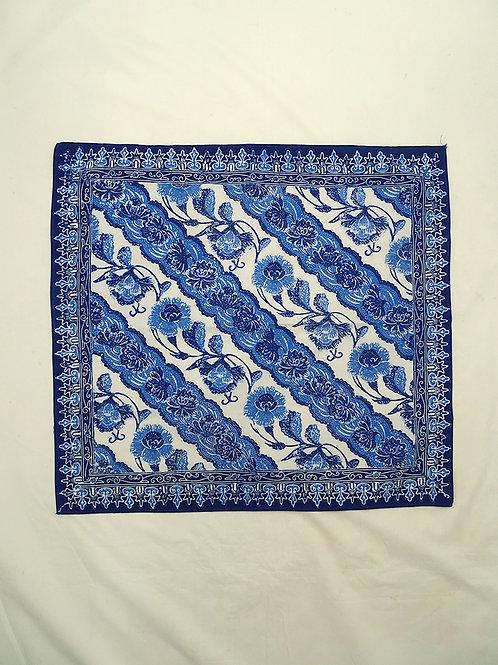 Extra Large Hankie/Napkin Peony Blue-White