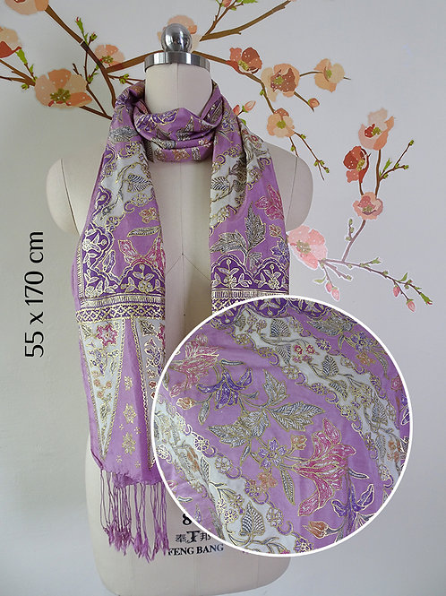 Silk Scarf Gold Floral Periwinkle (Medium)
