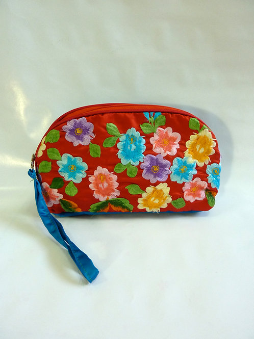Colorful flower on Red Pouch A