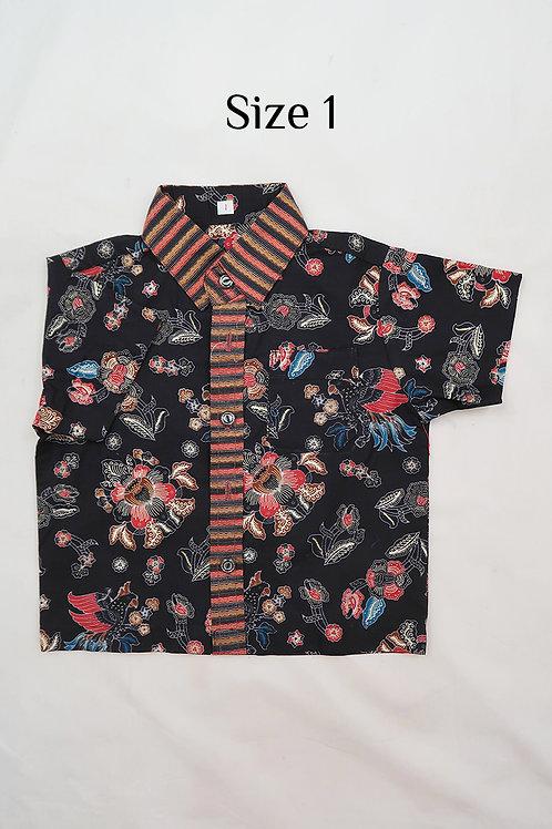 Boy Batik Shirt Black.  size 1 for 1yo