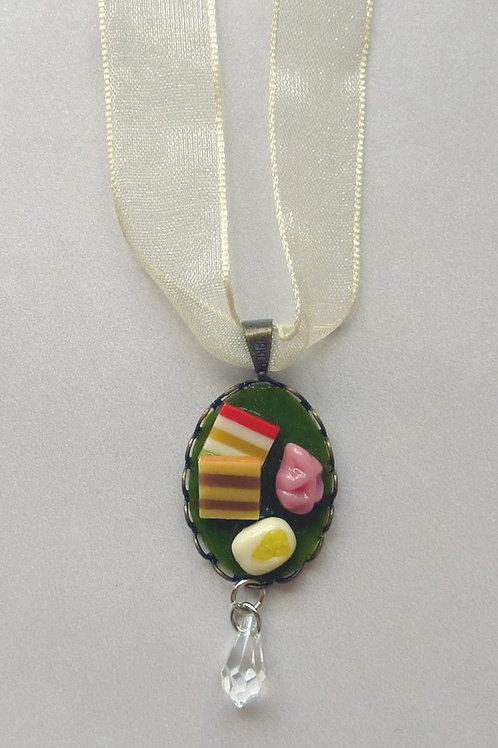 Handmade Clay Pendant with Swarovski Crystal