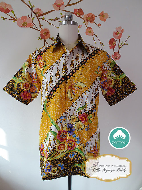 Hand-drawn Hokokai Yellow Cotton. No lining (S)