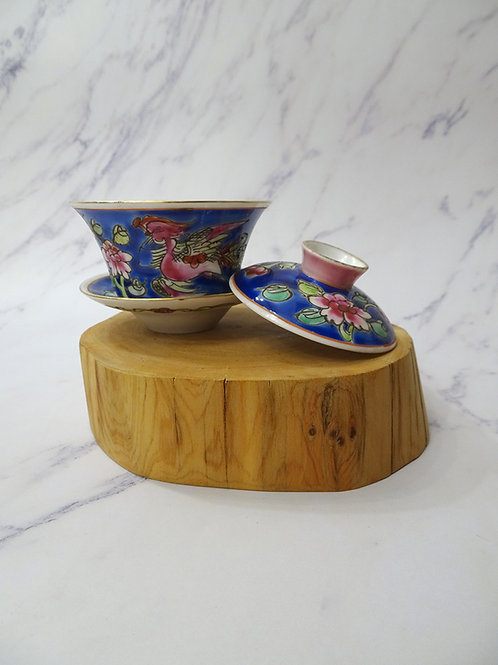 Baba Tea Cup Square  Lid, Saucer Blue in Box