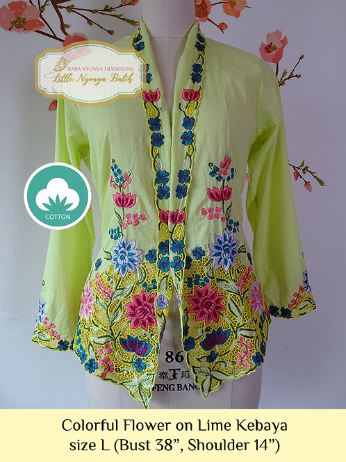 C: Colorful Flower in Lime Kebaya. size L