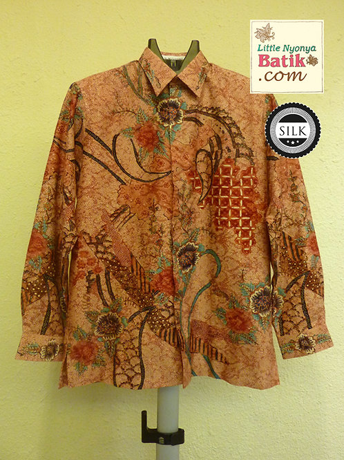 Hand-drawn Brown Flower.Textured silk. Long (L)